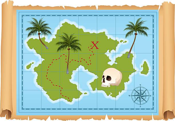 treasure map - piratenschrift stock-grafiken, -clipart, -cartoons und -symbole