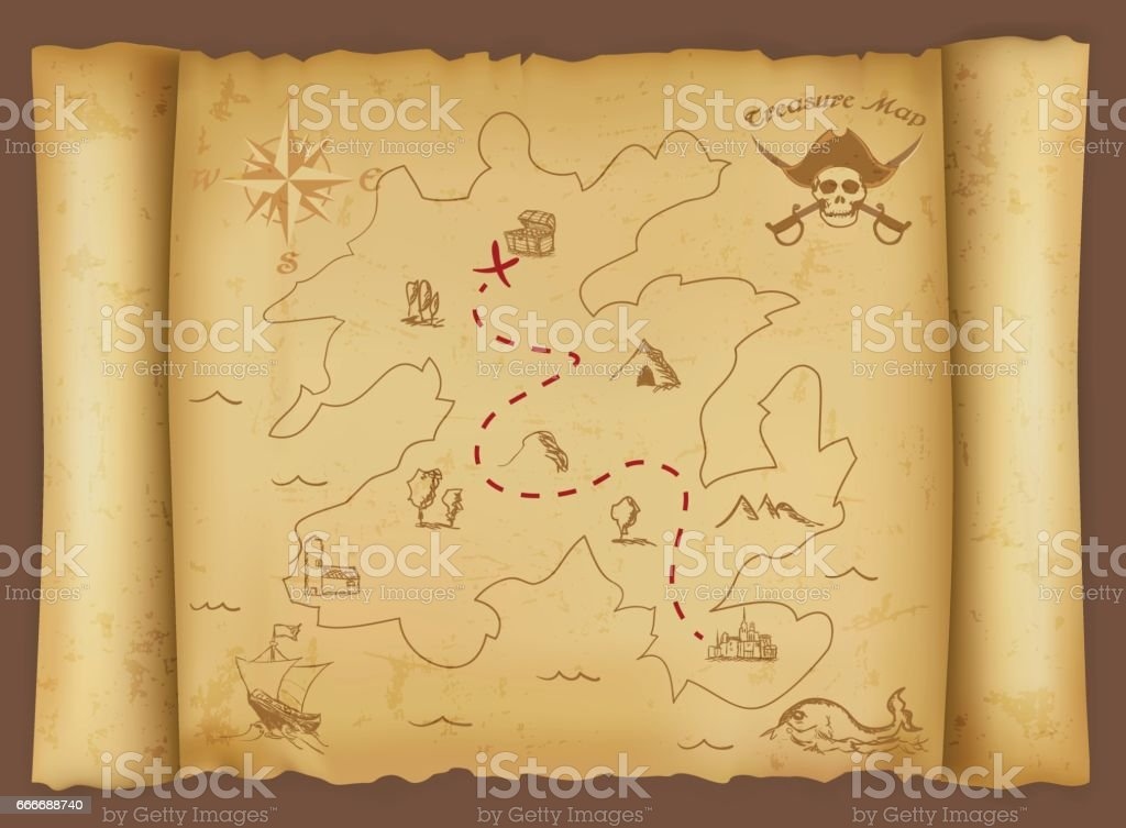 Treasure map vector art illustration