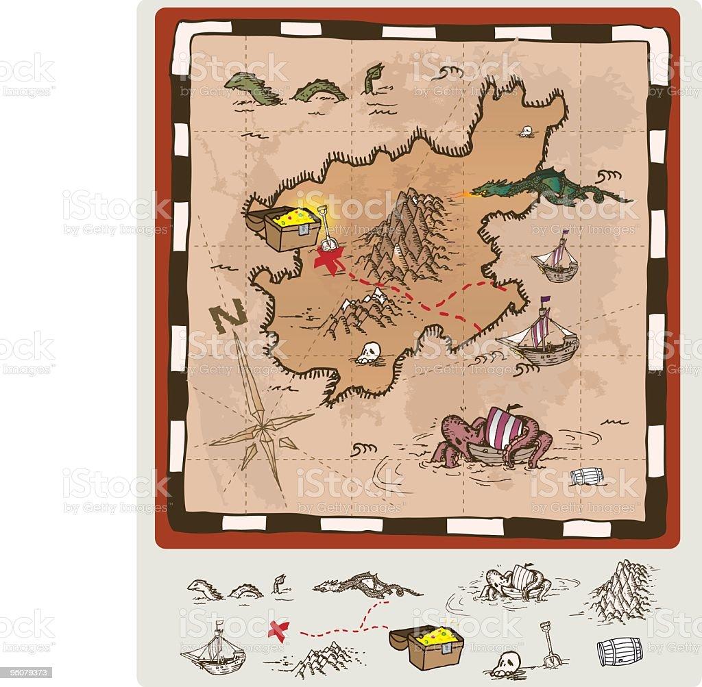 treasure map royalty-free stock vector art