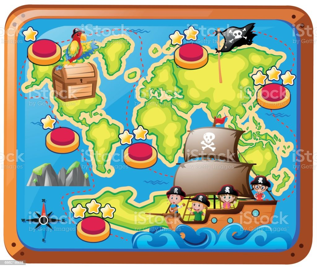 Treasure map with kids on the ship vector art illustration