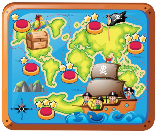 treasure map with kids on the ship - treasure map backgrounds stock illustrations