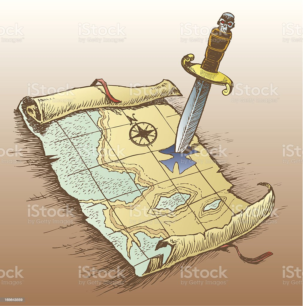 Treasure Map with Pirate Dagger, Arrrrgh royalty-free treasure map with pirate dagger arrrrgh stock vector art & more images of blade