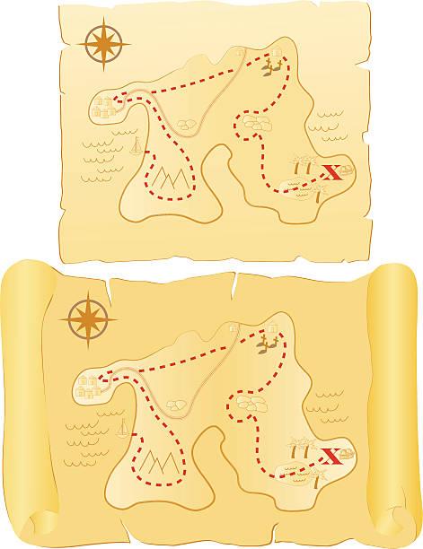Treasure Maps vector art illustration