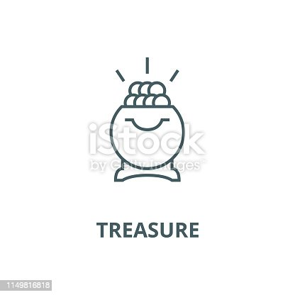 Treasure,pot of gold vector line icon, outline concept, linear sign