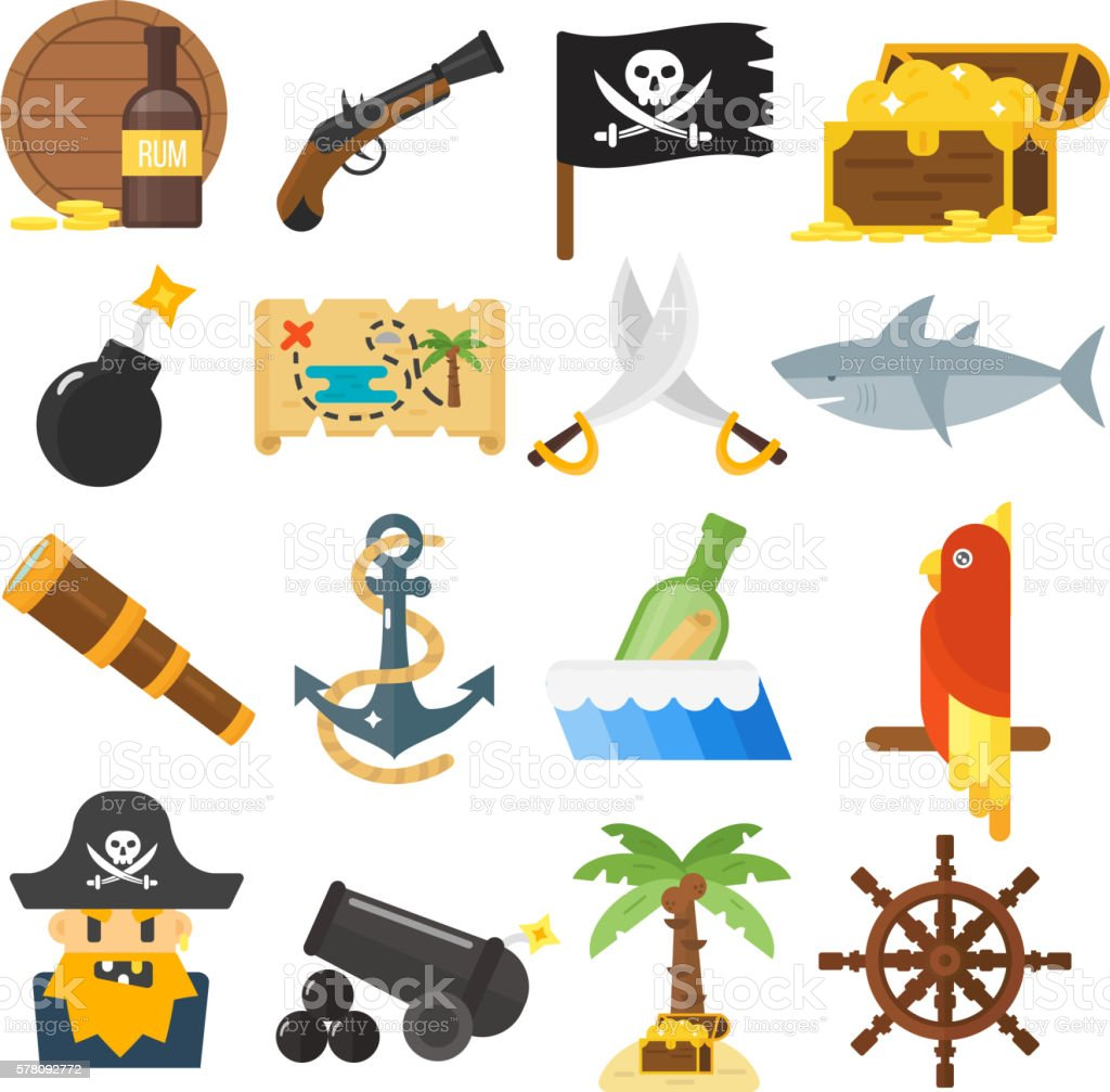 Treasures icons vector set. vector art illustration