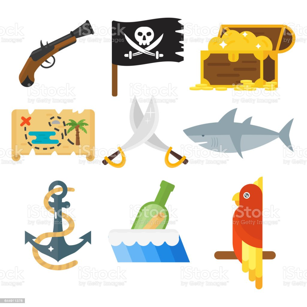 Treasures pirate adventures toy accessories icons vector set vector art illustration