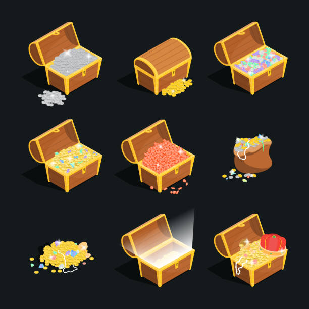 Treasures Signs 3d Icon Set Isometric View. Vector Treasures with Wooden Chest Signs 3d Icon Set Isometric View Include of Golden Coin and Gem. Vector illustration of Icons antiquities stock illustrations