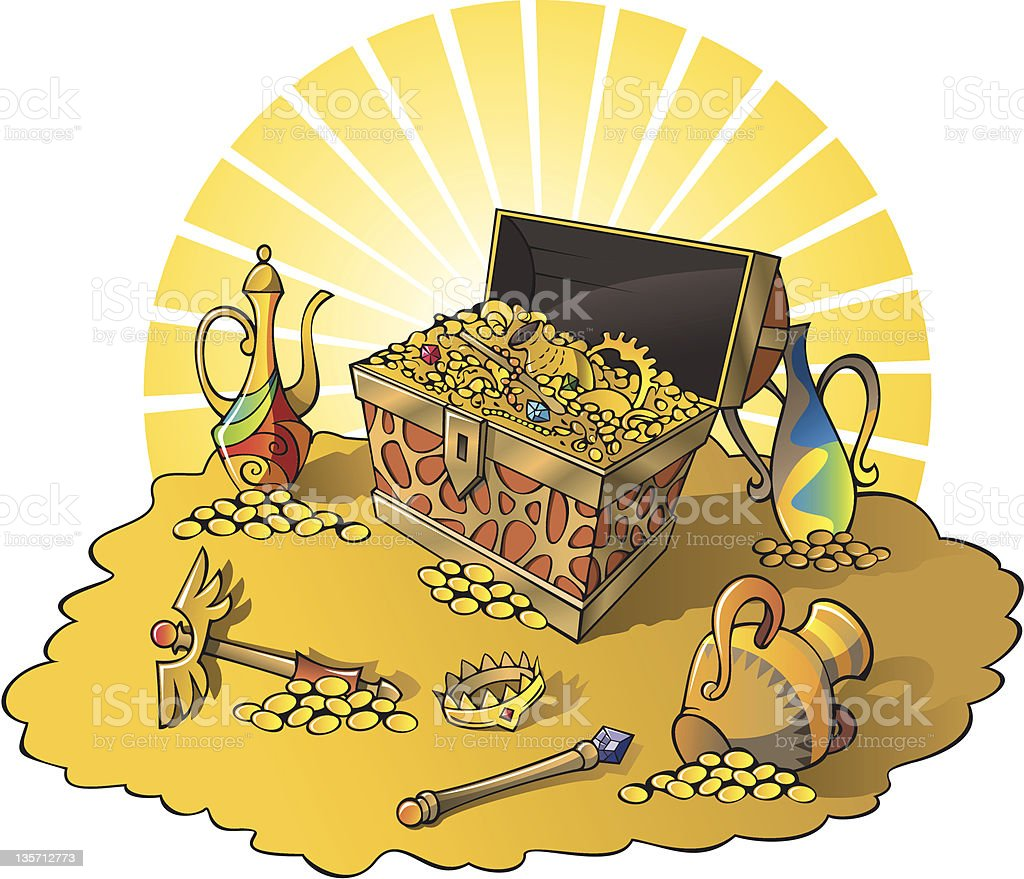 Treasures vector art illustration