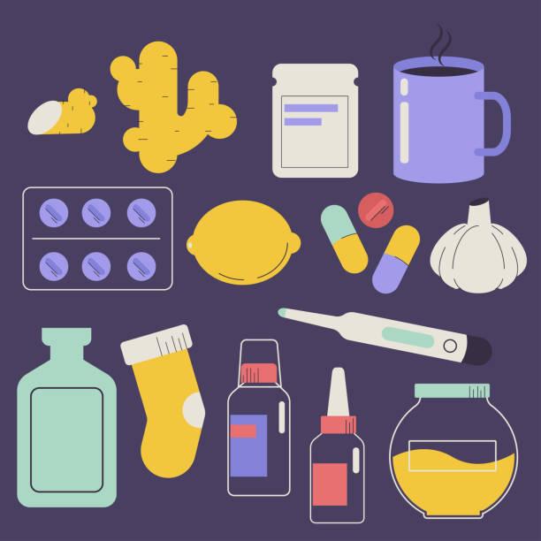 stockillustraties, clipart, cartoons en iconen met behandeling van verkoudheid en griep medicijnen vector platte set. - doordrukstrip