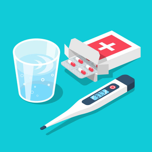 Treatment inflammation. Blister of pills glass of water, thermometer with high temperature Treatment inflammation. Blister of pills glass of water, thermometer with high temperature. Healthcare concept. Different medicaments. Web banner landing page. Vector illustration 3d isometric design. aspirin stock illustrations