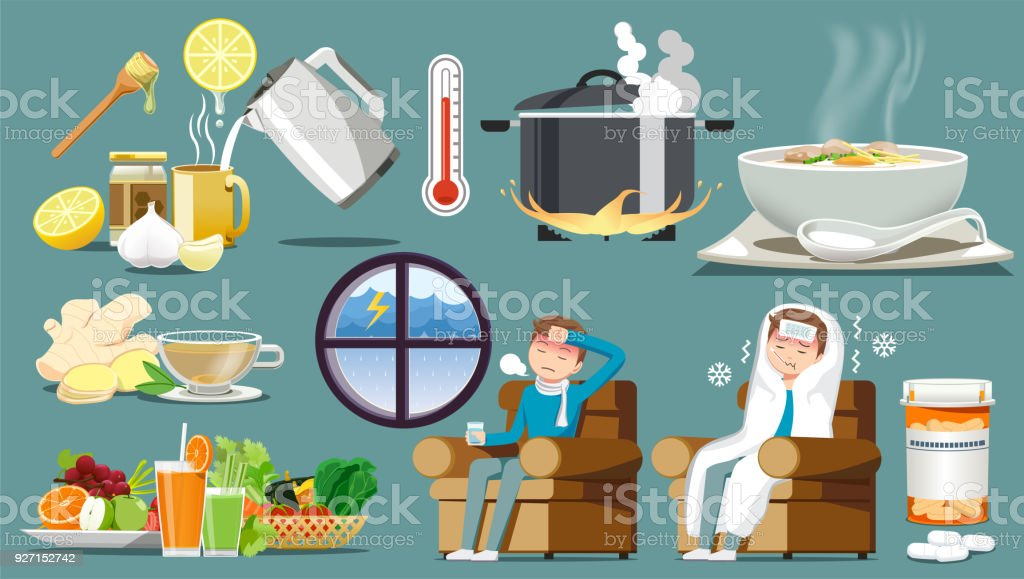Treatment of the common cold. Take care together. Food for body restoration. stop working. Rest to recover. vector art illustration