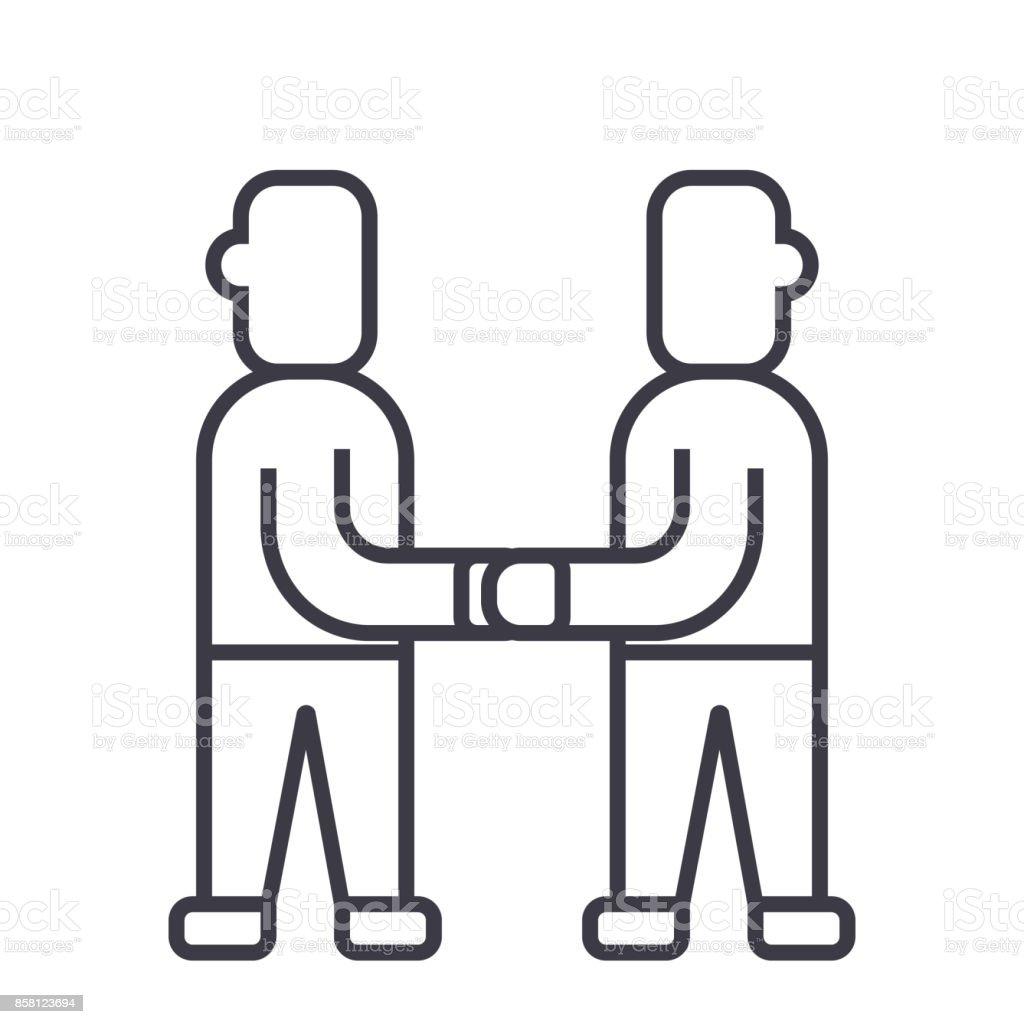 Vertrag Vereinbarung Vektorliniensymbol Zeichen Illustration Auf