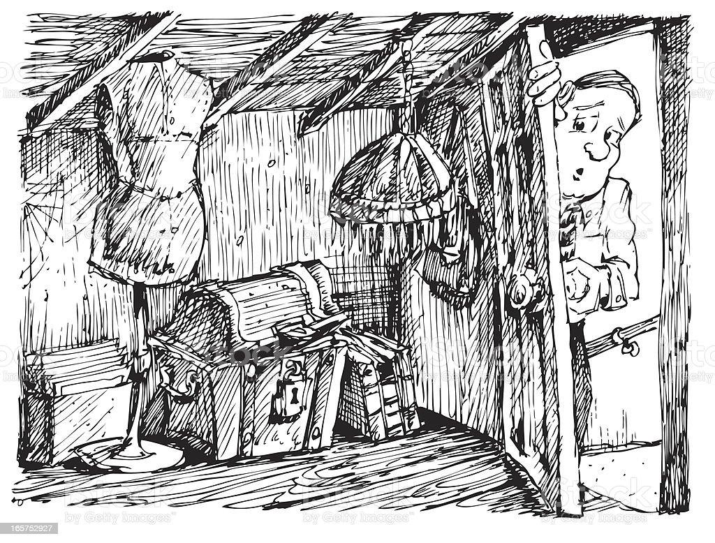 Treausre in the Attic vector art illustration