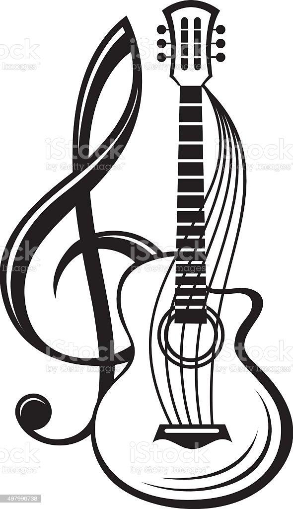 Ilustración De Clave De Sol Y Guitarras Y Más Banco De Imágenes De