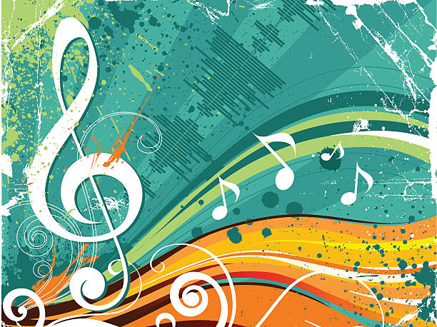 Treble clef and music notes on aqua background vector art illustration