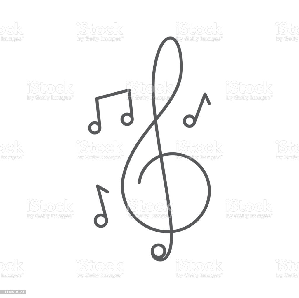 Treble clef and music notes vector icon concept, isolated on white...