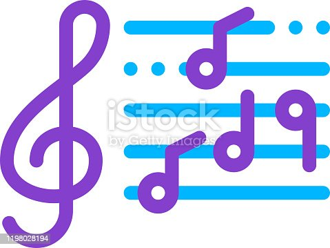 istock Treble Clef And Musical Notes Opera Element Vector 1198028194