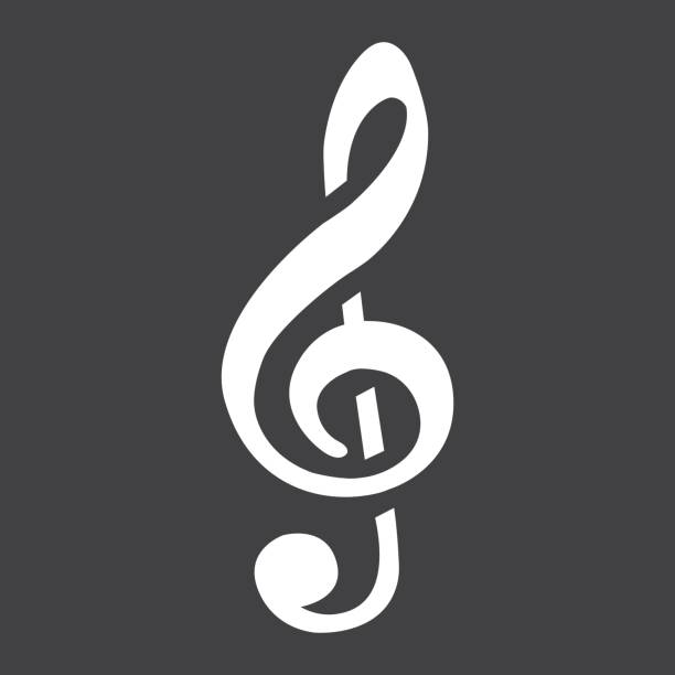 treble clef glyph icon, music and instrument, note sign vector graphics, a solid pattern on a black background, eps 10. - klucz wiolinowy stock illustrations
