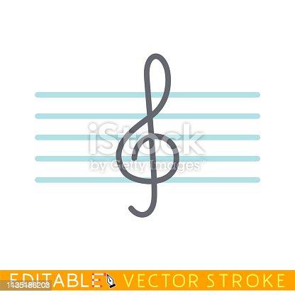 Treble clef icon. Editable stroke sketch icon. Stock vector illustration.