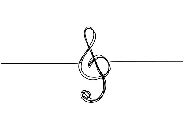 Treble clef is drawn by a single black one line, isolated on a white background. One-line drawing. Continuous line minimalism scribble style. Treble clef is drawn by a single black one line, isolated on a white background. One-line drawing. Continuous line minimalism scribble style. composition stock illustrations