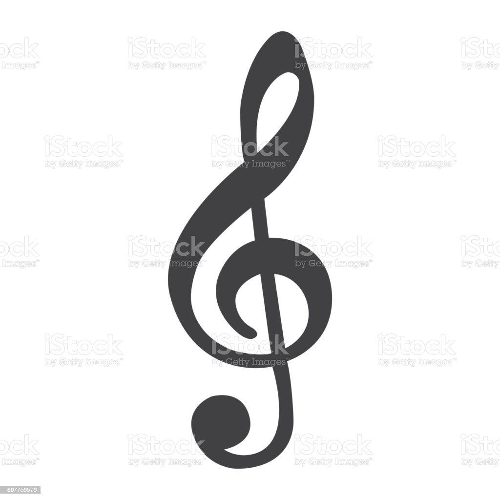 Icone De Ligne Treble Clef Musique Et Instrument Note Signe
