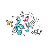 istock treble clef musical notes t-shirt design 1256936596