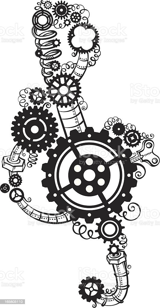 Treble clef of gears royalty-free stock vector art