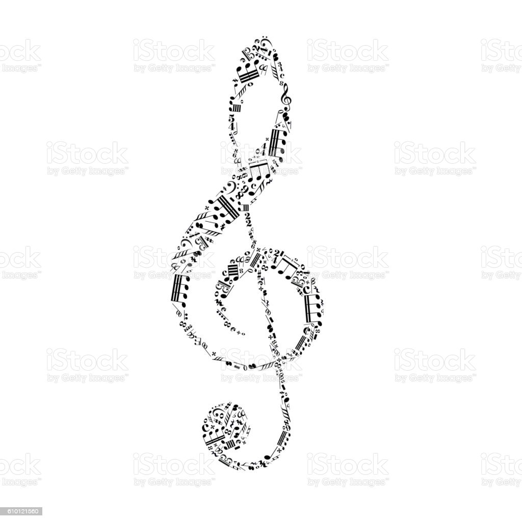 Treble clef sign made up from black music notes isolated on white
