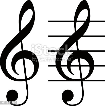 Treble Clef Simple And Basic Musical Symbol Stock Vector