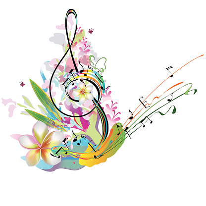 Treble clef with flowers and notes.