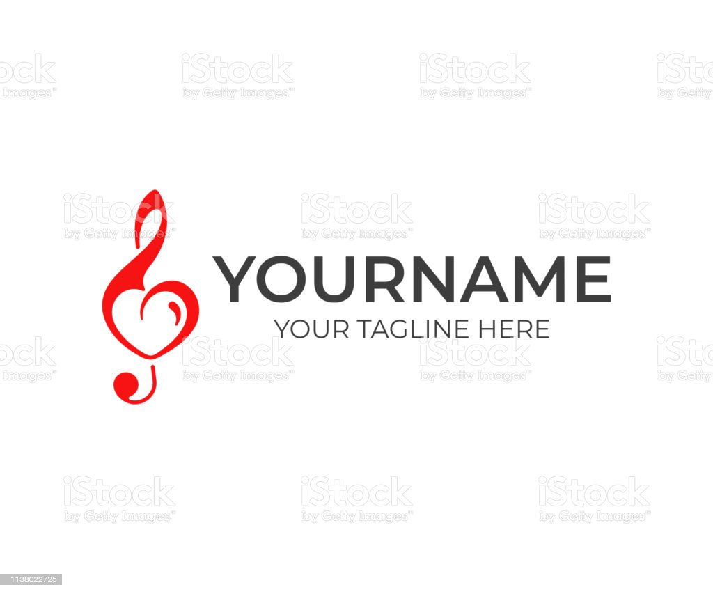 Treble clef with heart design. Love for music vector design. Music...