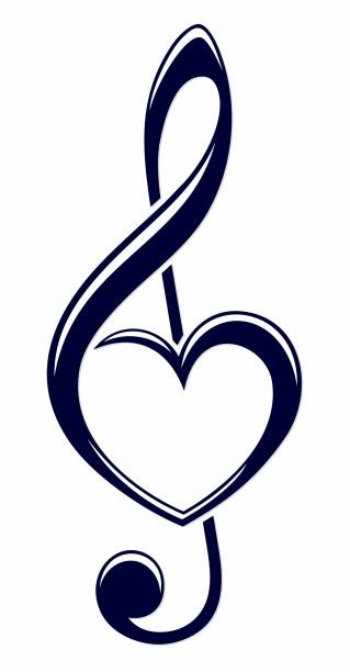 treble clef with heart. - klucz wiolinowy stock illustrations