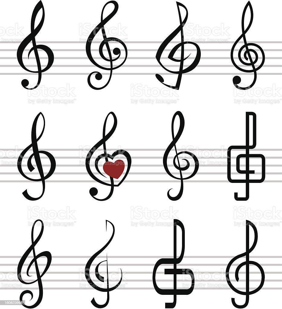 treble clefs vector art illustration