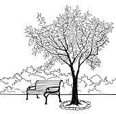 Tree and bench in park. Doodle Garden landscape. Nature background