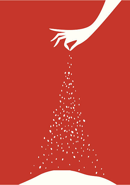 Tarjeta de Navidad con el árbol y preparados por el chef del restaurante, o - ilustración de arte vectorial