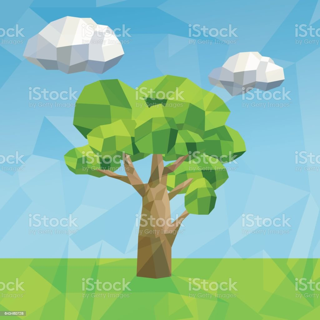 tree and cloud icon. Polygonal image. vector graphic vector art illustration