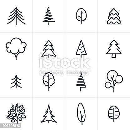 Tree and pine tree icons and symbols collection.