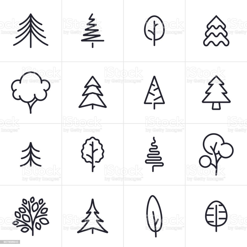 Tree and Evergreen Icons and Symbols vector art illustration