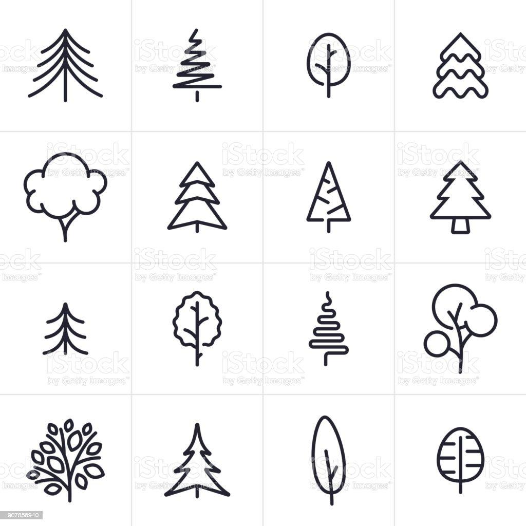 Árbol y hoja perenne iconos y símbolos - ilustración de arte vectorial