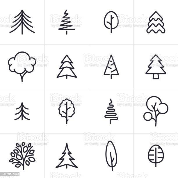 Tree And Evergreen Icons And Symbols - Arte vetorial de stock e mais imagens de Abeto