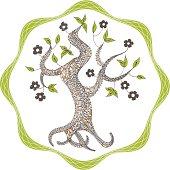 Tree with flowers - environmental emblem