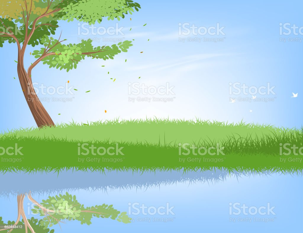 Tree and lake vector art illustration