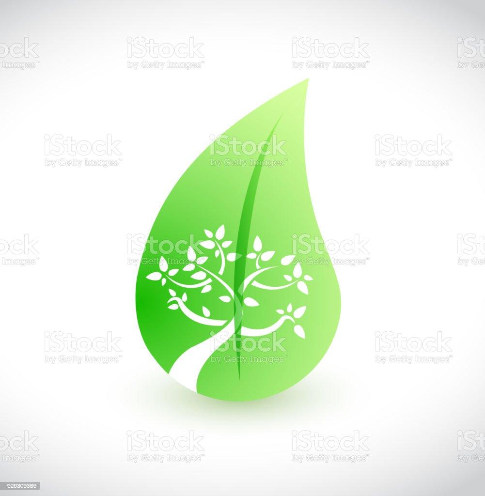 tree and leaves concept illustration design over a white background vector art illustration