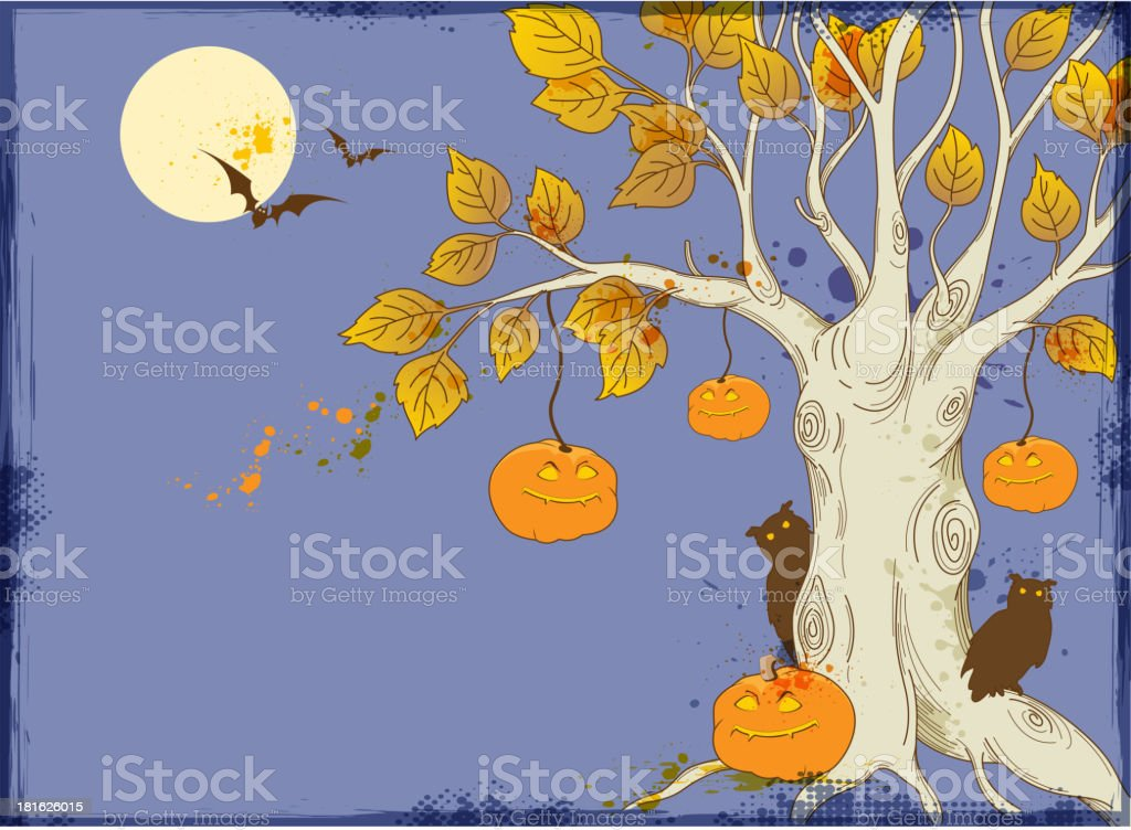 Tree and pumpkins向量藝術插圖
