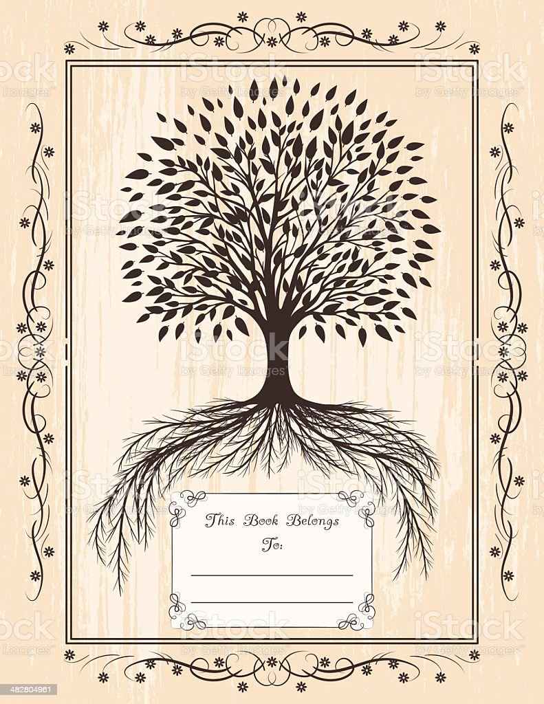 Tree And Roots Classic Style Book Plate vector art illustration