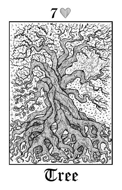Tree and seasons. Tarot card from vector Lenormand Gothic Mysteries oracle deck. vector art illustration