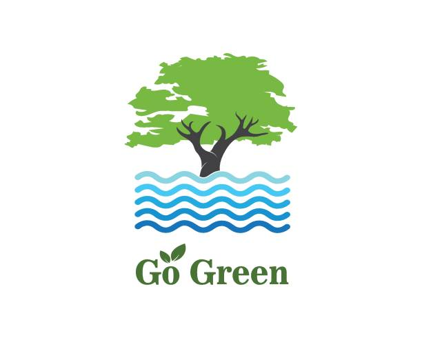 tree and water symbol and icon of go green eco nature tree and water symbol and icon of go green eco nature vector water wastage stock illustrations