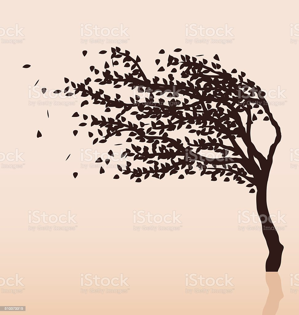 Tree and wind vector art illustration