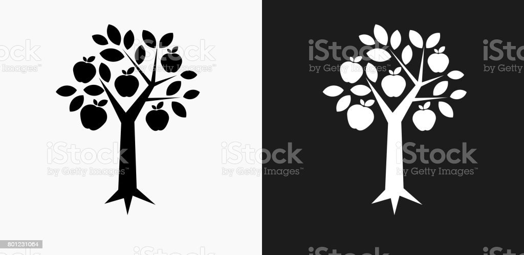 Tree Apple Icon on Black and White Vector Backgrounds vector art illustration