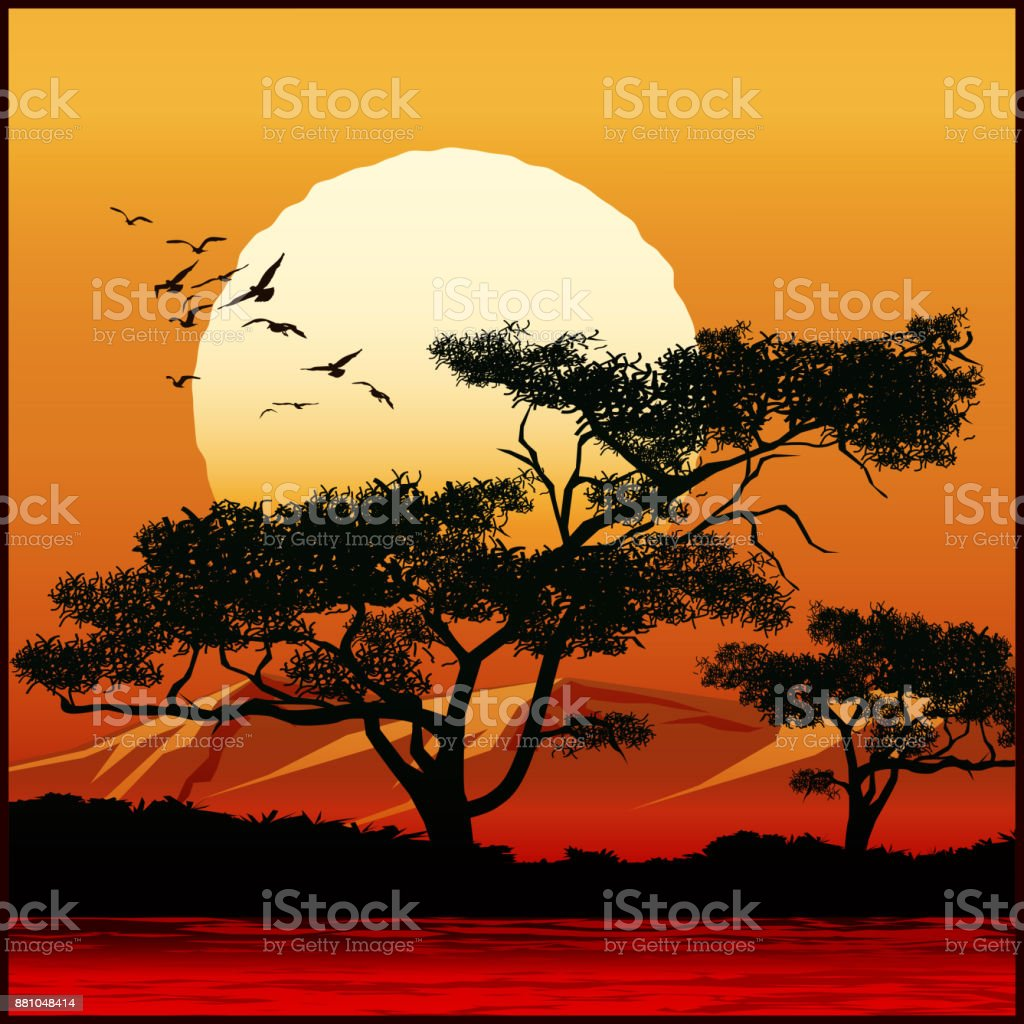 Tree at sunset vector art illustration